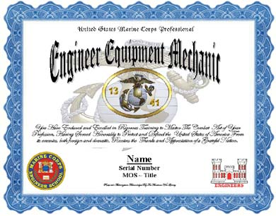 US Marine Corps 1341, Engineer Equipment Mechanic Professional ...