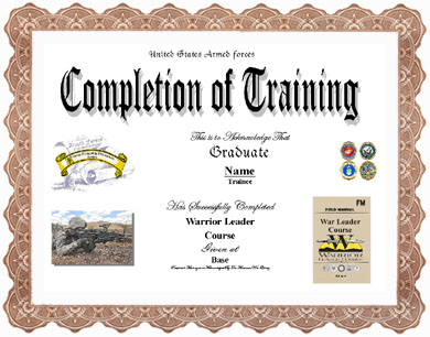 Sample certificate for leadership training image collections warrior leader training completion display recognition information warrior leader training completion click certificate for larger image yadclub Choice Image
