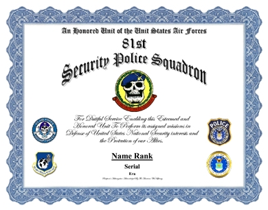 81st Security Police Squadron Service Display Recognition